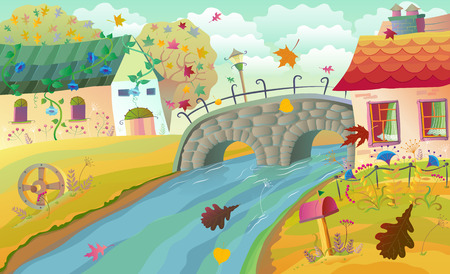 Autumn rural landscape with houses, bridge and river. Vector