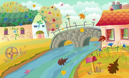 bridge in nature: Autumn rural landscape with houses, bridge and river.