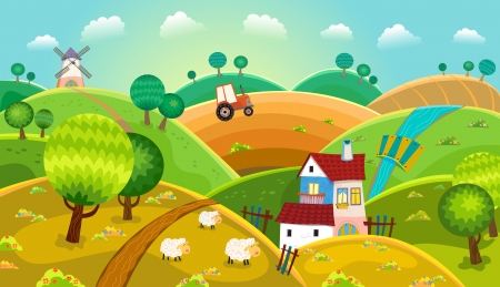 cartoon sheep: Rural landscape with hills, house, mill and tractor