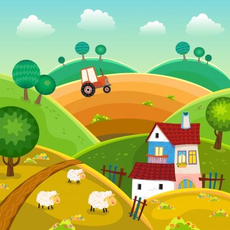 cartoon clouds: Paisaje rural con colinas, la casa y el tractor Vectores