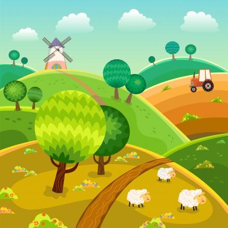 Landelijk landschap met heuvels, bomen, schapen en tractor