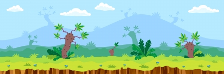 Seamless landscape, cartoon fantastic desert background. Vector.