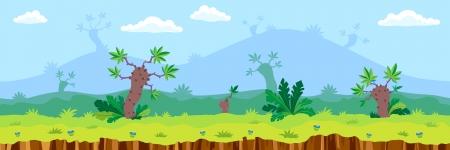 vector cartoon: Seamless landscape, cartoon fantastic desert background. Vector.