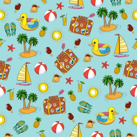 Vector hand drawn vacation seamless pattern. Summer time concept. Stock Vector - 22960899
