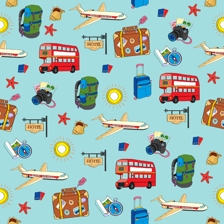 Vector hand drawn travel seamless pattern. Vacation concept.