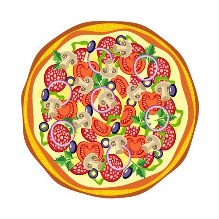 mozzarella cheese: Italian pizza with tomato, salami and mushrooms.