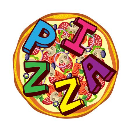 Italian pizza with tomato, salami, mushrooms and text.