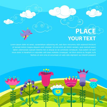 Vector achtergrond met vogel, lucht en bloemen en met plaats voor uw tekst. Stock Illustratie