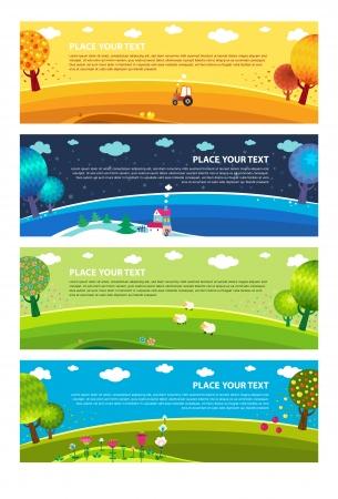 Four seasons: winter, spring, summer, autumn. Vector.