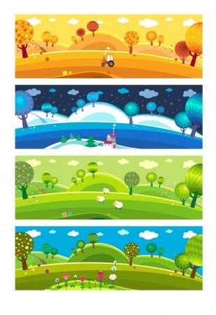 사계절 : 겨울, 봄, 여름, 가을. 벡터. 일러스트