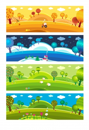 Four seasons: winter, spring, summer, autumn. Vector.