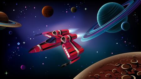 Cartoon ruimteschip met planeten, sterren en ruimte achtergrond. Vector.