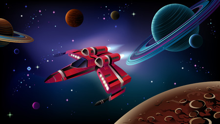Cartoon spaceship with planets,stars and space background. Vector. Иллюстрация
