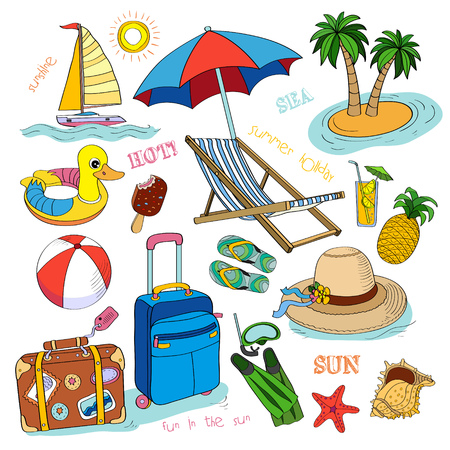 Set of vector hand drawn summer time icons. Stock Vector - 22960817