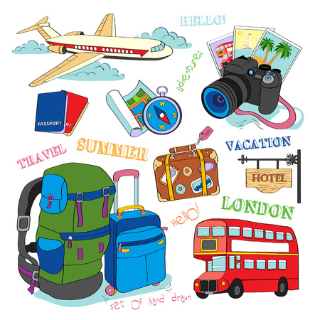 tourist icon: Set of vector hand drawn travel icons.