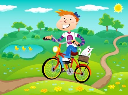自然風景の背景に自転車の少年。夏の時間。ベクトル。
