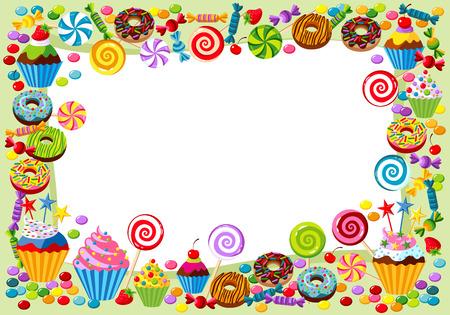 Vector achtergrond met snoep, zoete en gebak en met plaats voor uw tekst.
