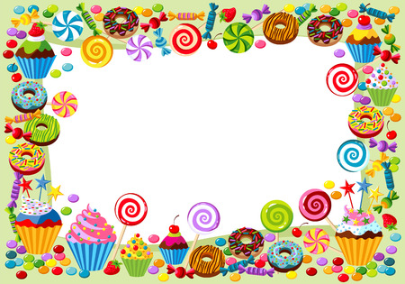 Vector background with candy, sweet and pastry and with place for your text. Illustration