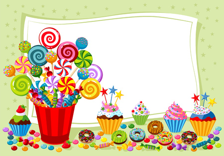 Vector background with candy, sweet and pastry and with place for your text. Иллюстрация