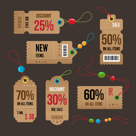 on special offer: Price and sale tags retro color design, vector illustration.