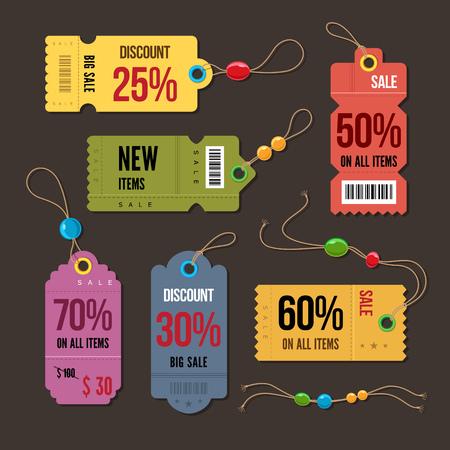 Prijs en kortingsmarkeringen retro kleur ontwerp, vector illustratie. Stock Illustratie