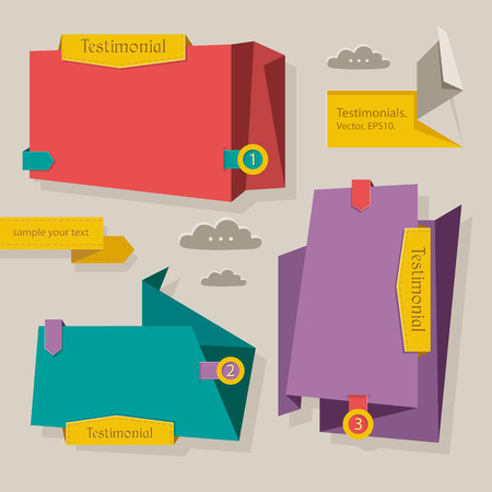 Set of vector testimonials element in origami style and retro colors. Vector
