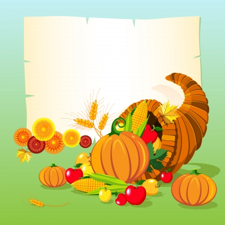 Vector illustration of horn of plenty. Thanksgiving day background.  Vector