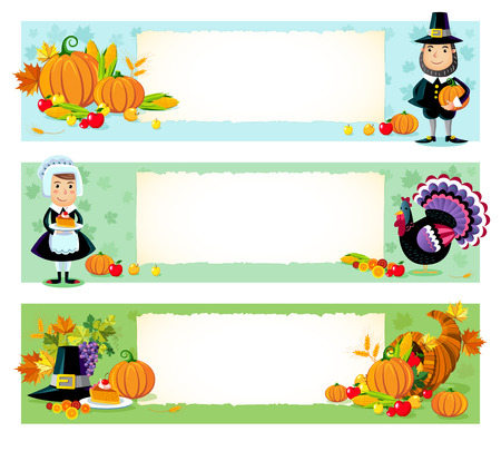 horn of plenty: Three vector illustration of thanksgiving day background.