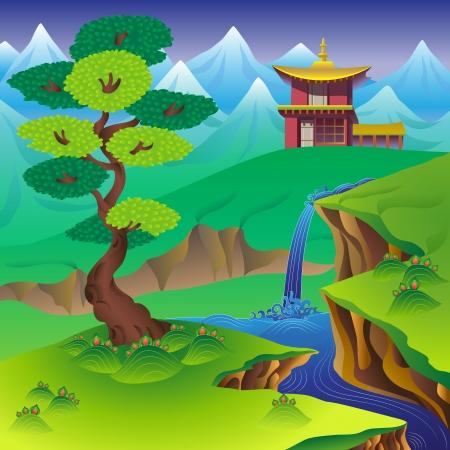 Paisaje chino con el árbol, cascada, montañas y casas.