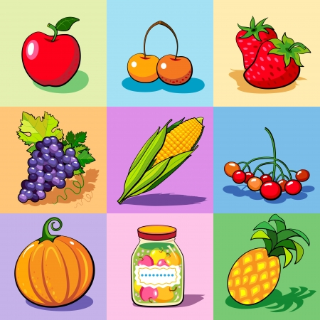 strawberry tree: Set of food icons on the colorful backgrounds. Summer-autumn harvest. Vector. Illustration