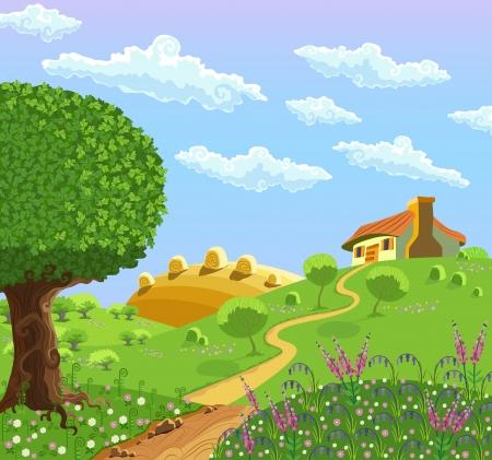 Landelijk landschap met heuvels, huis, tuin en hooi