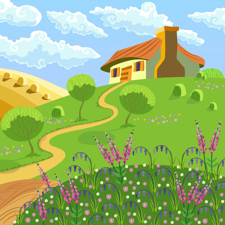 Rural landscape with hills, house, garden and hay