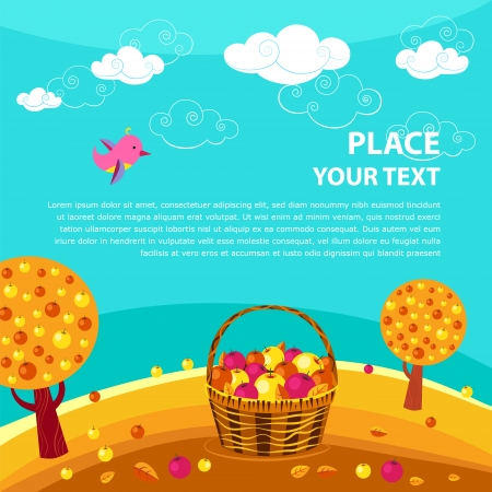 Vector background with bird, sky, apple garden and with place for your text.