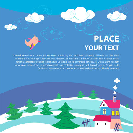 Vector background with bird, sky and with place for your text.