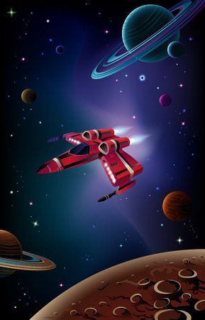 Cartoon spaceship with planets,stars and space background. Vector. Illustration