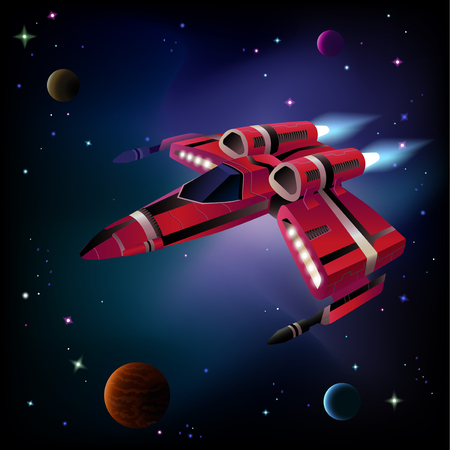 Cartoon spaceship with planets,stars and space background. Vector.  イラスト・ベクター素材