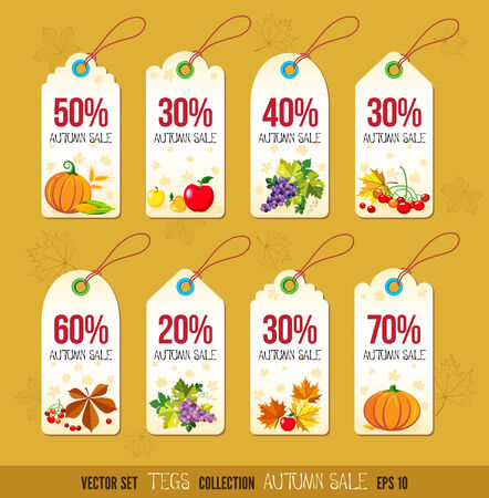 Price and discount tags autumn color design, vector illustration. Vector
