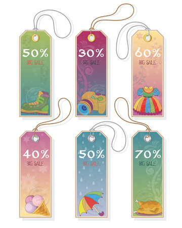 Price and discount tags with different products, vector illustration. Illustration