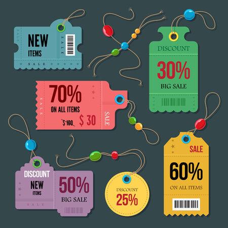 Price and sale tags retro color design, vector illustration.