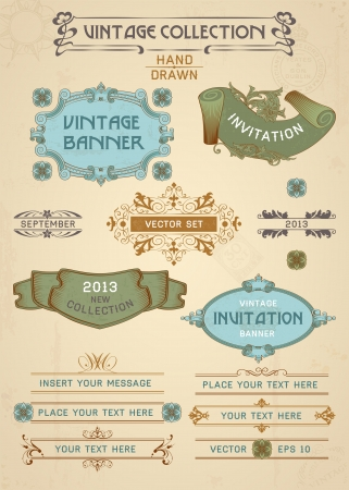 Vintage banners and labels set with decorative elements. Vector. Vector