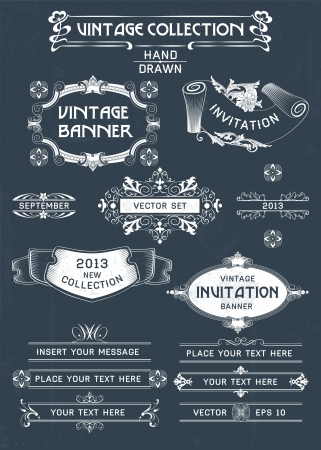 kingly: Vintage banners and labels set with decorative elements. Vector.