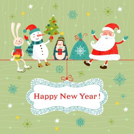 Greeting Christmas and New Year card with Santa Claus, snowman, penguin and rabbit.  Vector