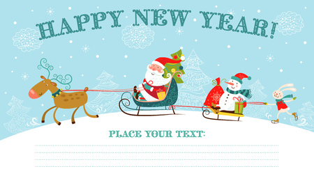 Greeting Christmas and New Year card with Santa Claus on sledge, snowman, deer and rabbit.  Vector