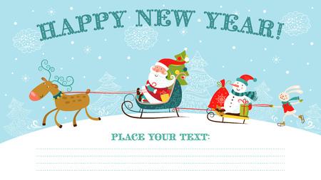 papa noel en trineo: Tarjetas de Navidad y tarjetas de Año Nuevo con Papá Noel en el trineo, muñeco de nieve, ciervo y conejo.