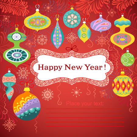 Happy New Year card with decoration and snowflakes and place for your text. Illustration