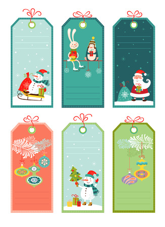 Price and discount tags with christmas elements, vector illustration. Иллюстрация