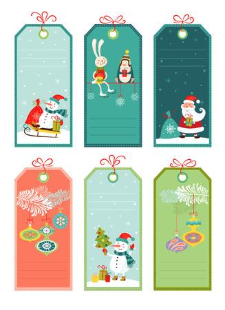 Prijs en korting tags met Kerst elementen, vector illustratie.