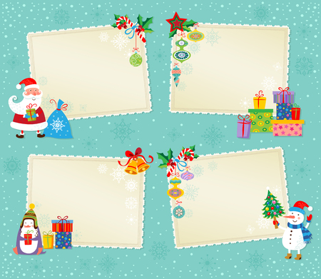 christmas gift tag: Set of greeting Christmas and New Year cards.