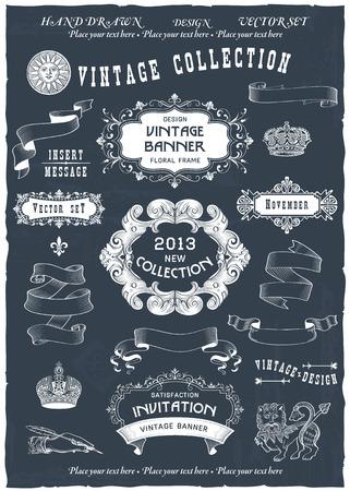 Vintage banners en labels set met decoratieve elementen. Vector.