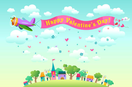 Happy Valentine's day card with greetings ribbon tied to aircraft flying over the city. Vector